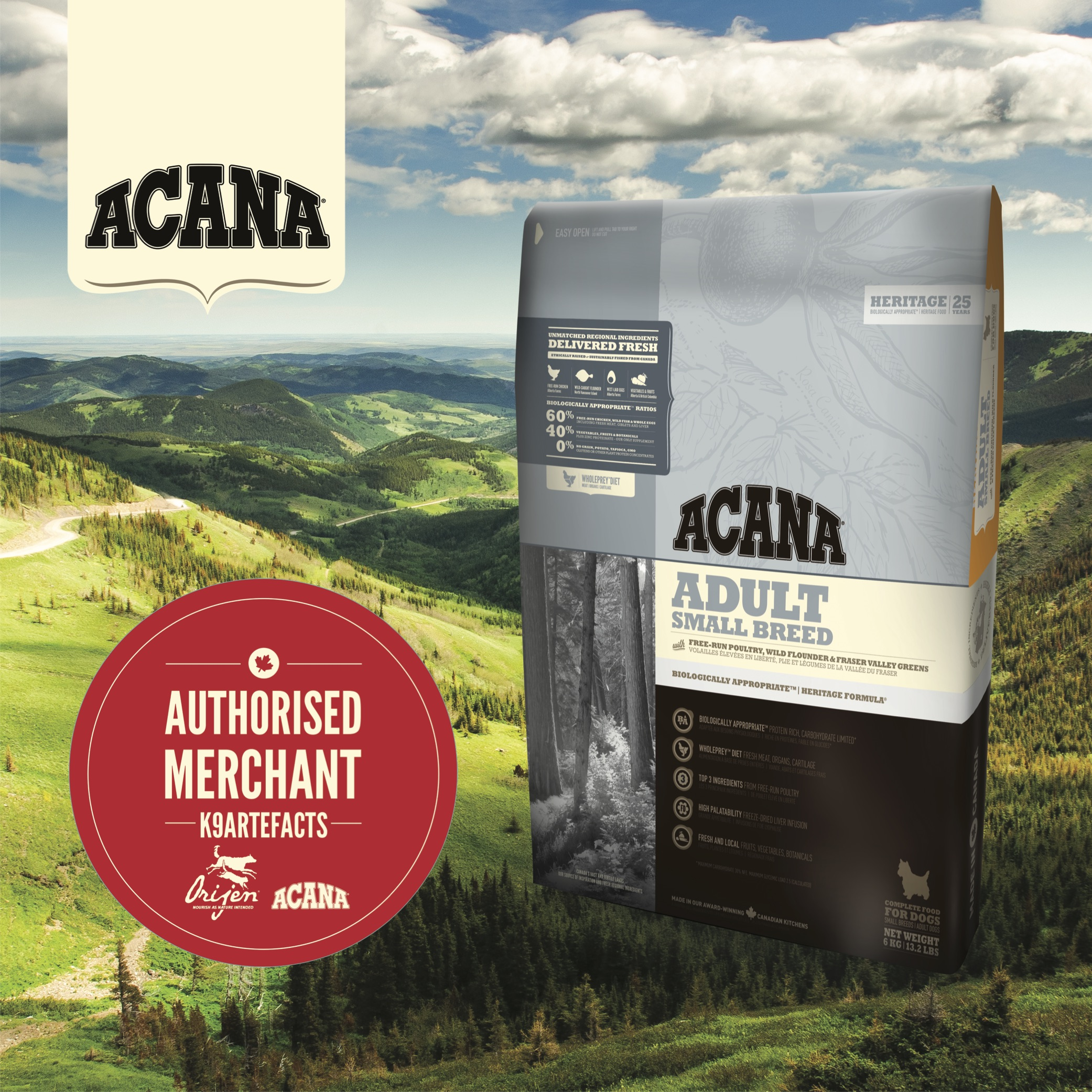 Acana Adult Small Breed Dog Dry Formula 2kg
