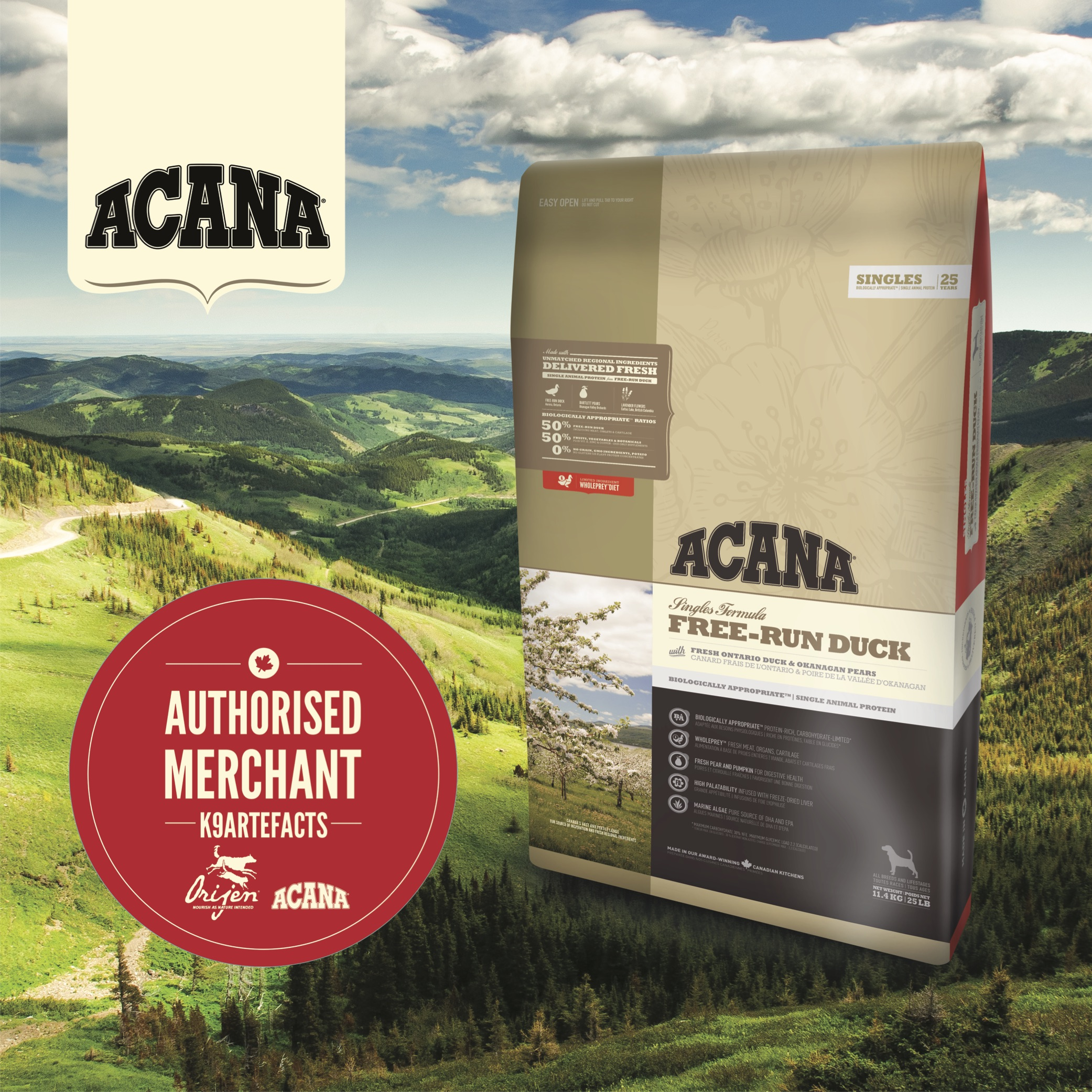 Acana Free-run Duck Dog Dry Formula 11.4kg