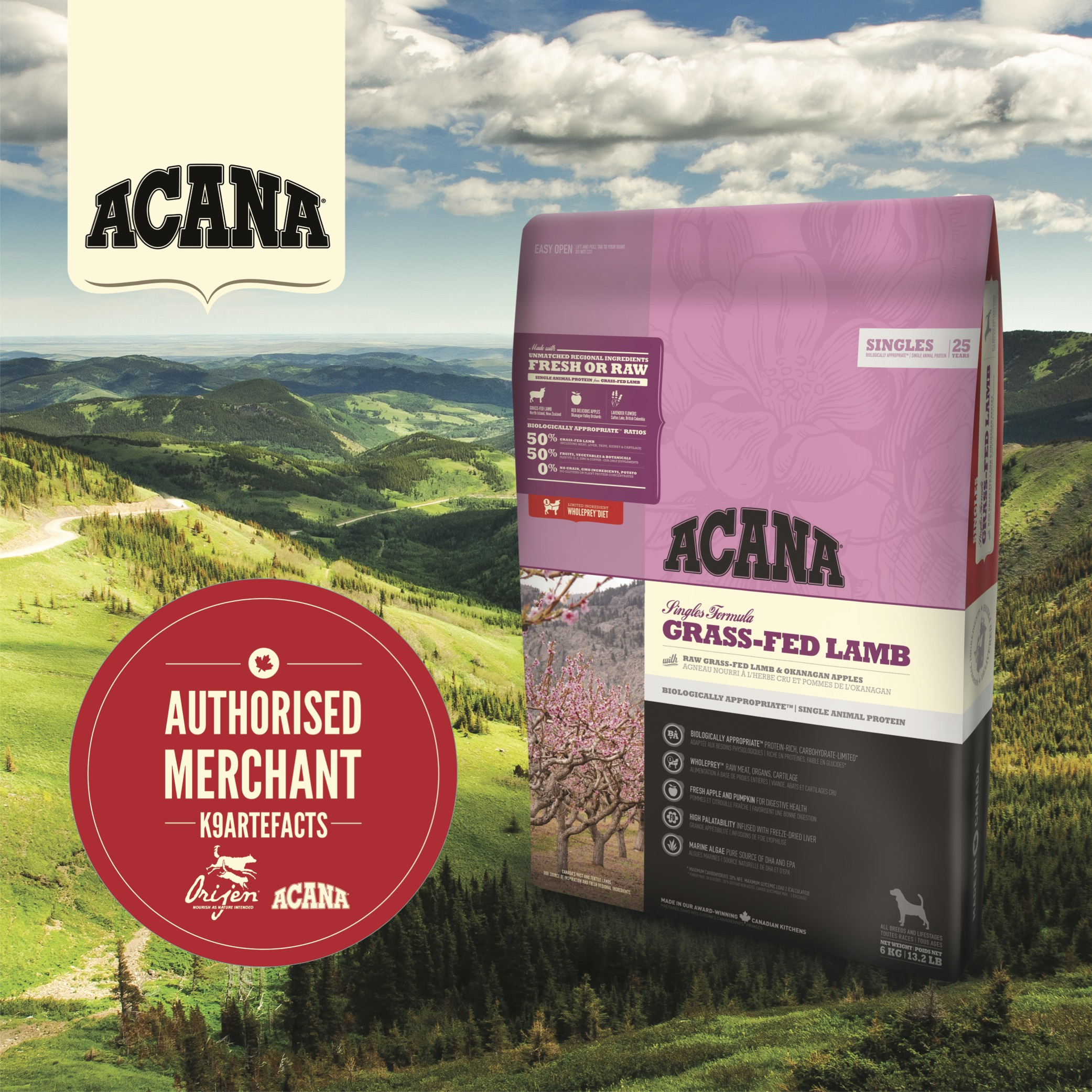 Acana Grass-fed Lamb Dog Dry Formula 2kg