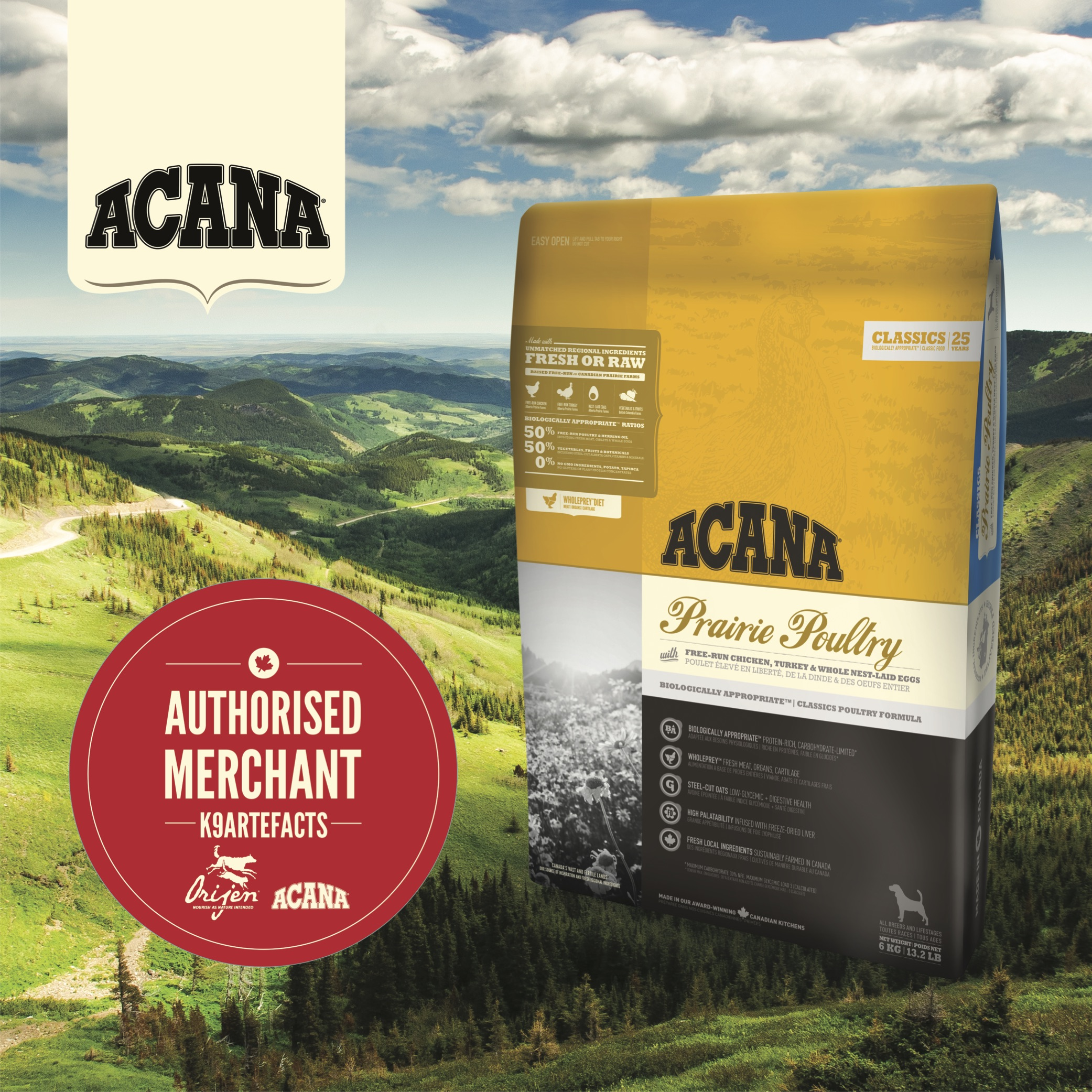 ACANA Prairie Poultry All Breeds and Life Stages Dog Dry Formula (K9 CARE PROGRAM) 2kg