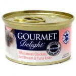 GOURMET Delight Whitemeat Chicken, Red Bream & Tuna Liver Cat Canned Food