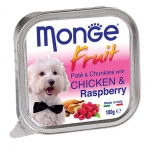 Monge Fruit Chicken and Raspberry Pate and Chunkies Dog Wet Food
