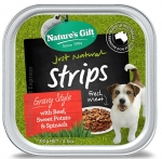 Nature's Gift Gourmet Strips With Beef, Sweet Potato & Spinach Dog Tray Food