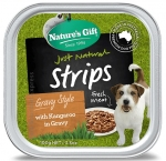 Nature's Gift Gourmet Strips With Kangaroo in Gravy Dog Tray Food