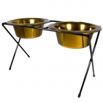 Platinum Pets DeluX Double Raised Feeder 24 Karat Gold