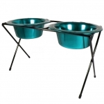 Platinum Pets DeluX Double Raised Feeder Carribean Teal