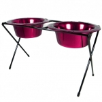 Platinum Pets DeluX Double Raised Feeder Raspberry Pop