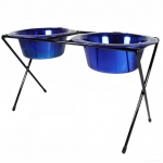 Platinum Pets DeluX Double Raised Feeder Sapphire Blue