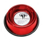 Platinum Pets Stainless Steel Embossed Non-Tip Bowl Candy Apple Red