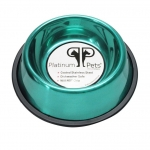 Platinum Pets Stainless Steel Embossed Non-Tip Bowl Carribean Teal