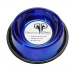 Platinum Pets Stainless Steel Embossed Non-Tip Bowl Sapphire Blue